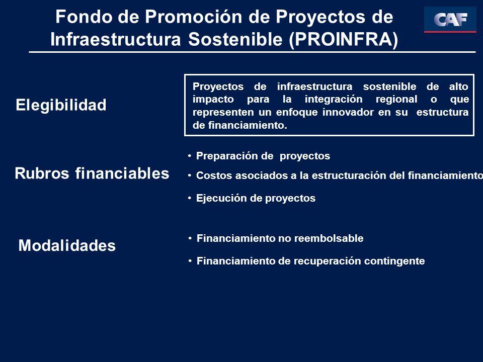 Fondo de Promoción de Proyectos de Infraestructura Sostenible (PROINFRA) Proyectos de infraestructura sostenible de alto impacto para la integración regional o que representen un enfoque innovador en su estructura de financiamiento.