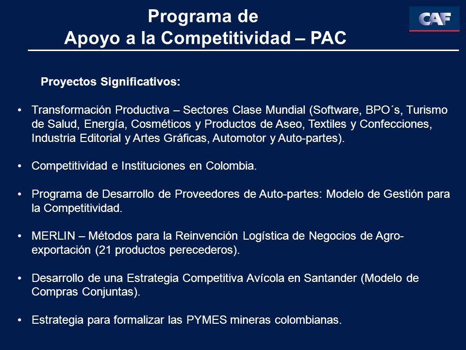 Programa de Apoyo a la Competitividad – PAC Proyectos Significativos: Transformación Productiva – Sectores Clase Mundial (Software, BPO´s, Turismo de