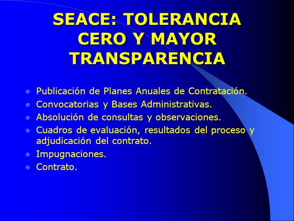 SEACE: TOLERANCIA CERO Y MAYOR TRANSPARENCIA Publicación de Planes Anuales de Contratación. Convocatorias y Bases Administrativas. Absolución de consu