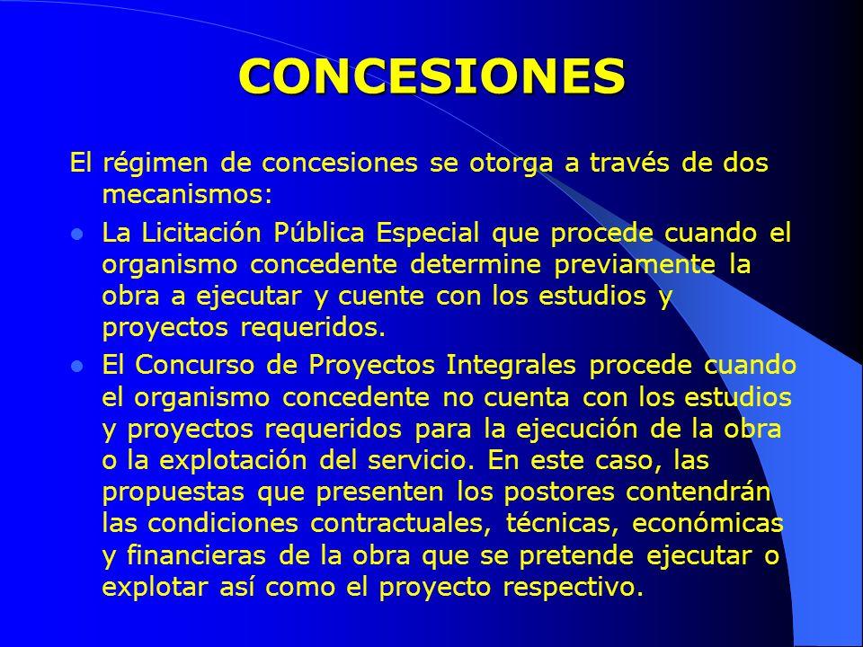 CONCESIONES El régimen de concesiones se otorga a través de dos mecanismos: La Licitación Pública Especial que procede cuando el organismo concedente