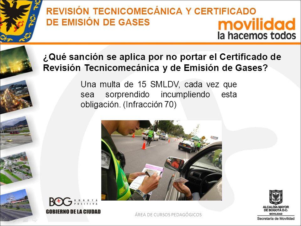 ¿Qué sanción se aplica por no portar el Certificado de Revisión Tecnicomecánica y de Emisión de Gases? Una multa de 15 SMLDV, cada vez que sea sorpren