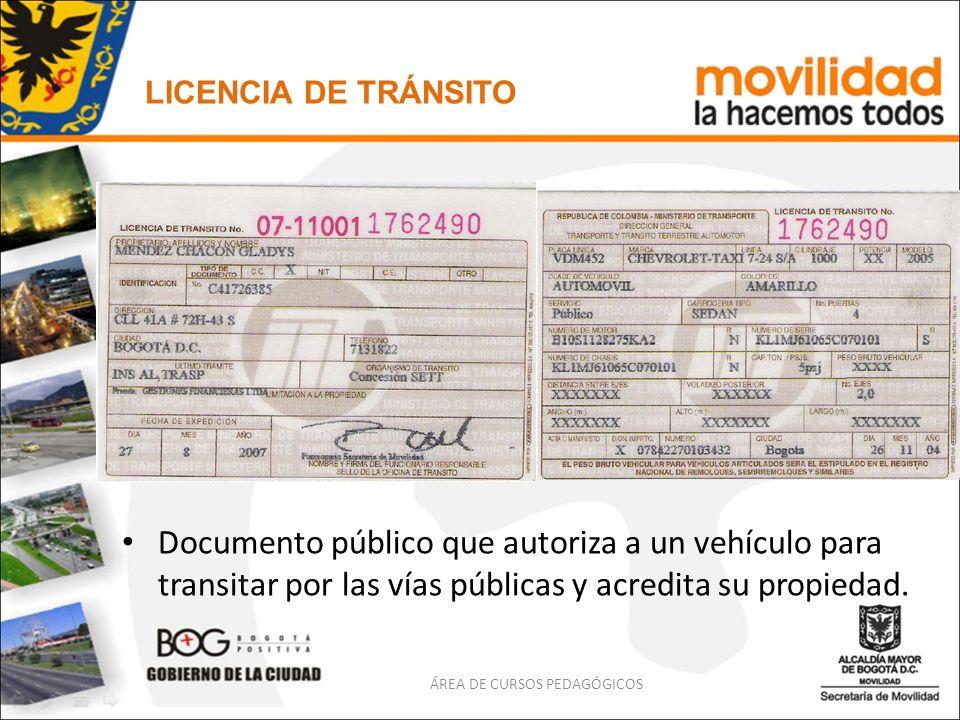 Documento público que autoriza a un vehículo para transitar por las vías públicas y acredita su propiedad. LICENCIA DE TRÁNSITO ÁREA DE CURSOS PEDAGÓG