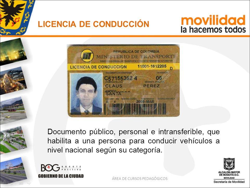 LICENCIA DE CONDUCCIÓN Documento público, personal e intransferible, que habilita a una persona para conducir vehículos a nivel nacional según su cate