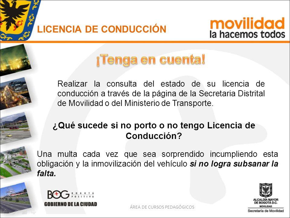 LICENCIA DE CONDUCCIÓN ¿Qué sucede si no porto o no tengo Licencia de Conducción? Una multa cada vez que sea sorprendido incumpliendo esta obligación