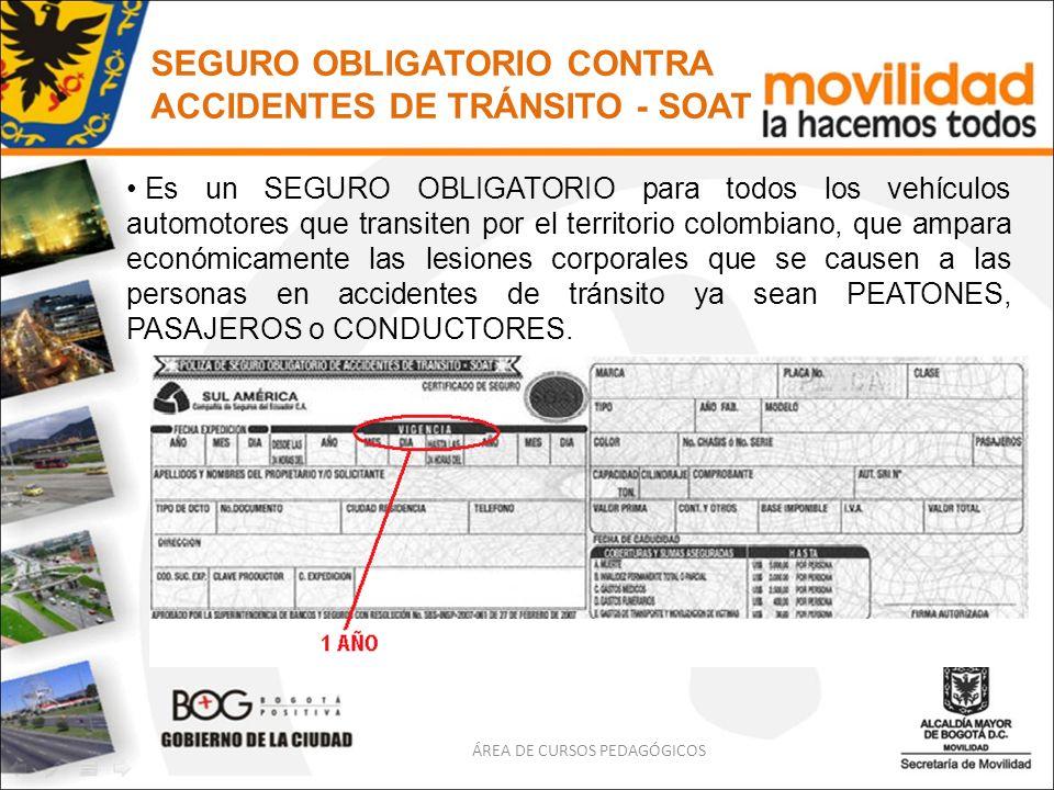 SEGURO OBLIGATORIO CONTRA ACCIDENTES DE TRÁNSITO - SOAT Es un SEGURO OBLIGATORIO para todos los vehículos automotores que transiten por el territorio