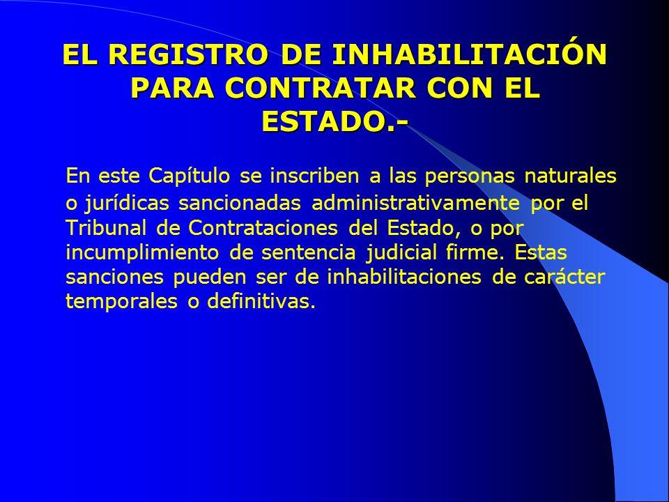 EL REGISTRO DE INHABILITACIÓN PARA CONTRATAR CON EL ESTADO.- En este Capítulo se inscriben a las personas naturales o jurídicas sancionadas administra