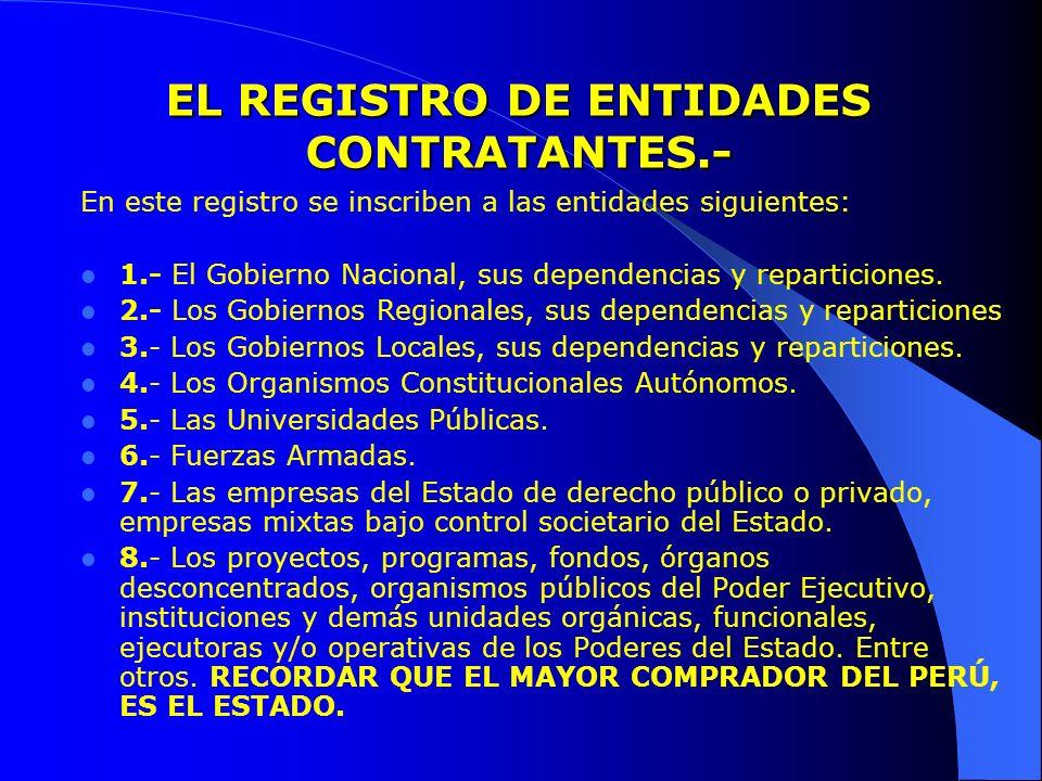 EL REGISTRO DE ENTIDADES CONTRATANTES.- En este registro se inscriben a las entidades siguientes: 1.- El Gobierno Nacional, sus dependencias y reparti