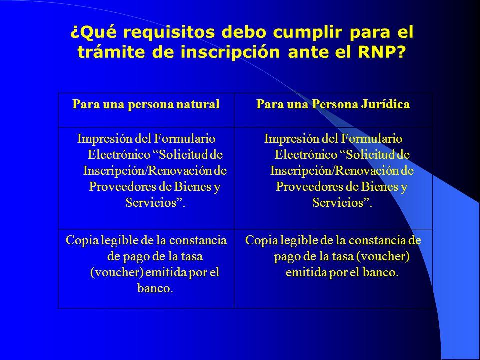 ¿Qué requisitos debo cumplir para el trámite de inscripción ante el RNP? Para una persona naturalPara una Persona Jurídica Impresión del Formulario El