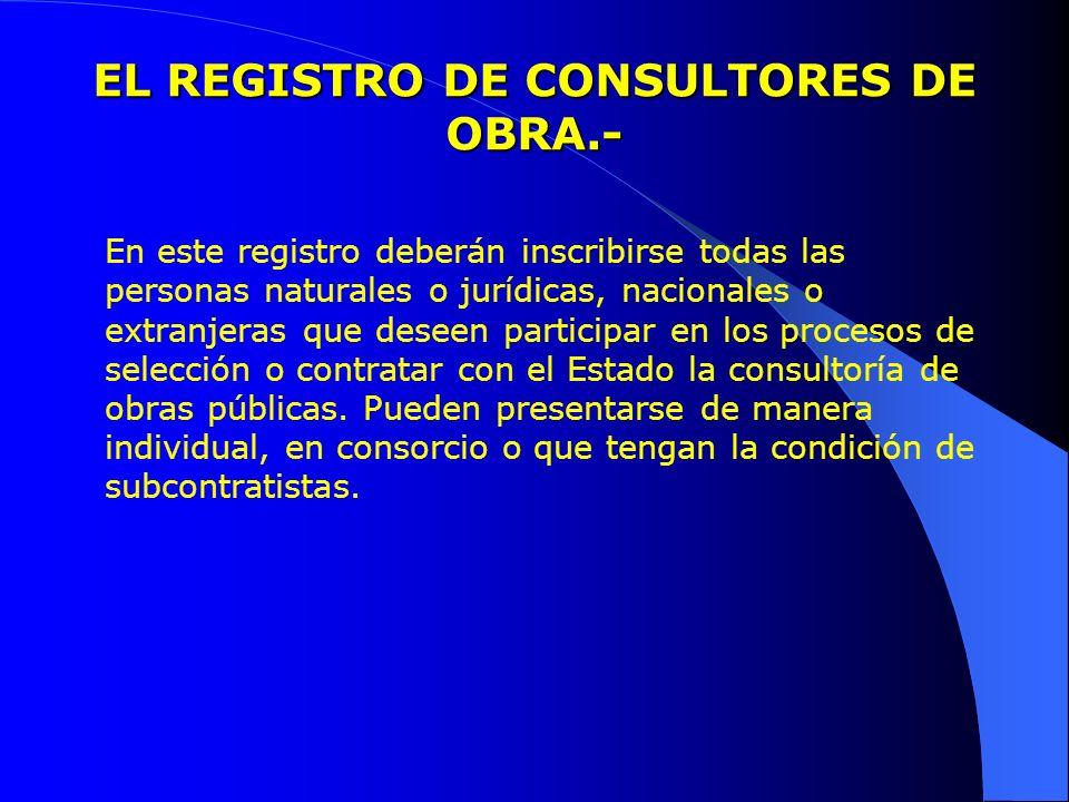 EL REGISTRO DE CONSULTORES DE OBRA.- En este registro deberán inscribirse todas las personas naturales o jurídicas, nacionales o extranjeras que desee