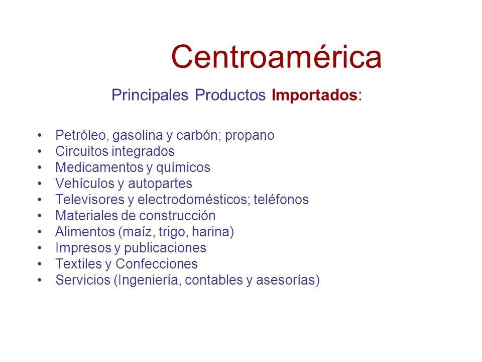 C entroamérica Principales Productos Exportados: Café, banano y plátanos Circuitos integrados digitales Partes y accesorios para maquinas de procesami
