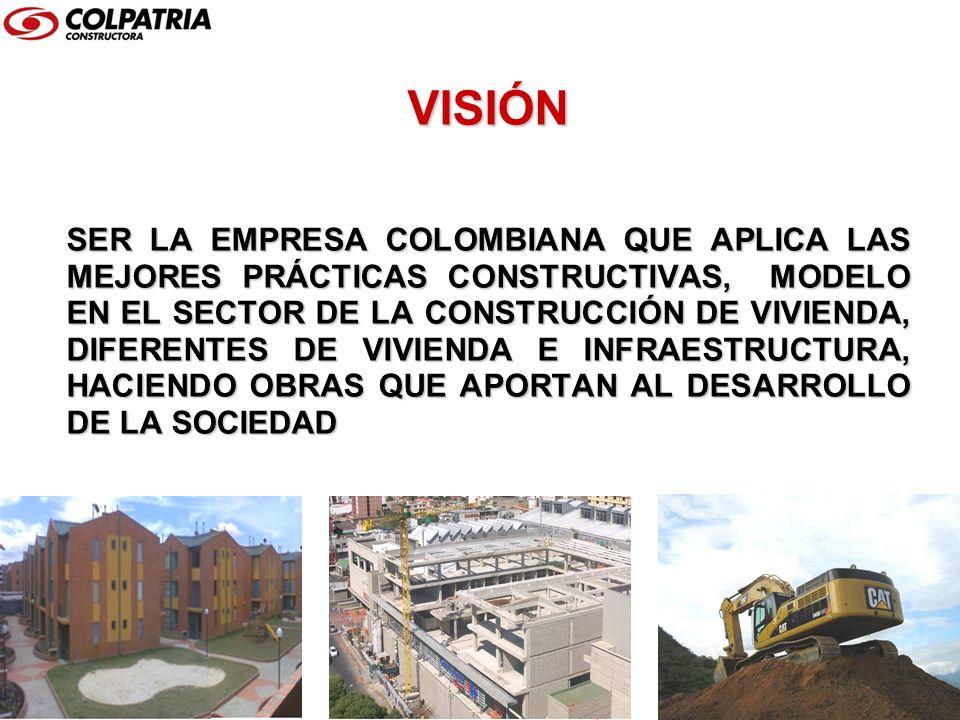 VISIÓN SER LA EMPRESA COLOMBIANA QUE APLICA LAS MEJORES PRÁCTICAS CONSTRUCTIVAS, MODELO EN EL SECTOR DE LA CONSTRUCCIÓN DE VIVIENDA, DIFERENTES DE VIV