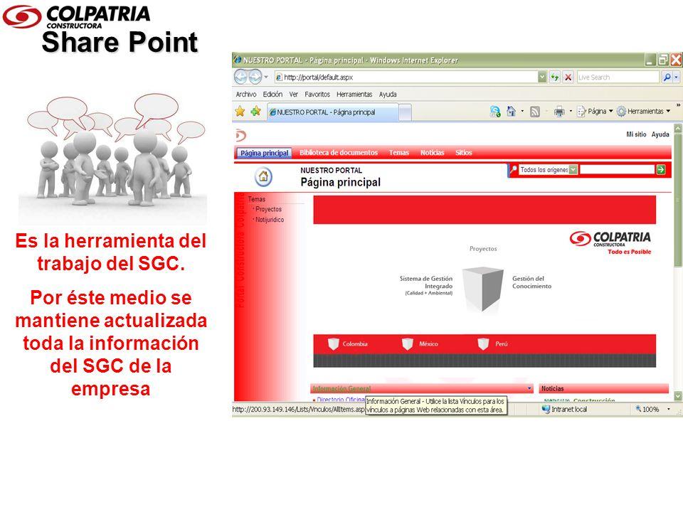 Share Point Es la herramienta del trabajo del SGC. Por éste medio se mantiene actualizada toda la información del SGC de la empresa