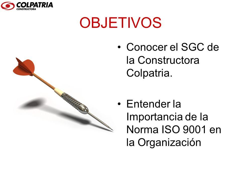 OBJETIVOS Conocer el SGC de la Constructora Colpatria. Entender la Importancia de la Norma ISO 9001 en la Organización