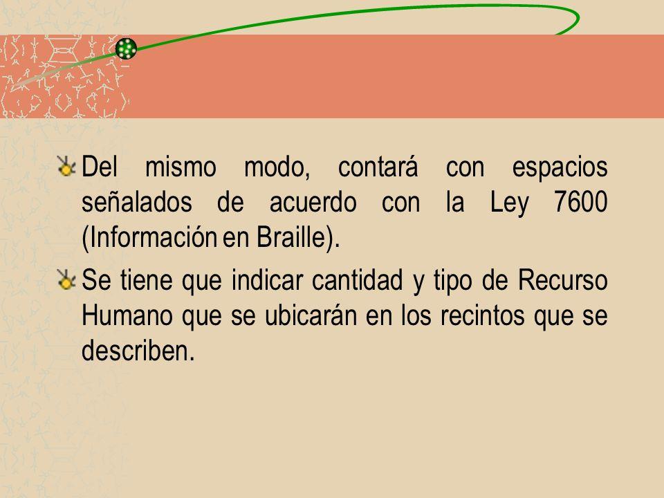 Del mismo modo, contará con espacios señalados de acuerdo con la Ley 7600 (Información en Braille). Se tiene que indicar cantidad y tipo de Recurso Hu