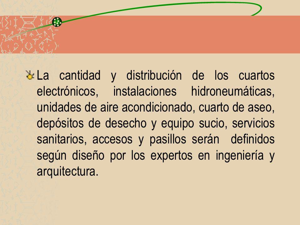 La cantidad y distribución de los cuartos electrónicos, instalaciones hidroneumáticas, unidades de aire acondicionado, cuarto de aseo, depósitos de de