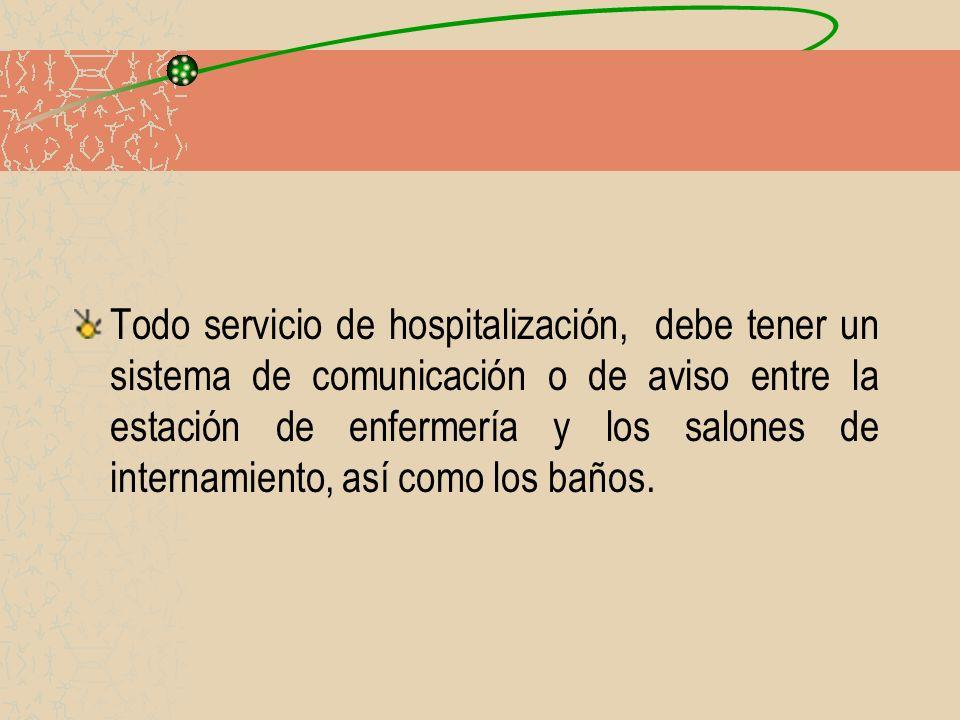 Todo servicio de hospitalización, debe tener un sistema de comunicación o de aviso entre la estación de enfermería y los salones de internamiento, así