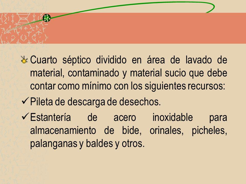 Cuarto séptico dividido en área de lavado de material, contaminado y material sucio que debe contar como mínimo con los siguientes recursos: Pileta de
