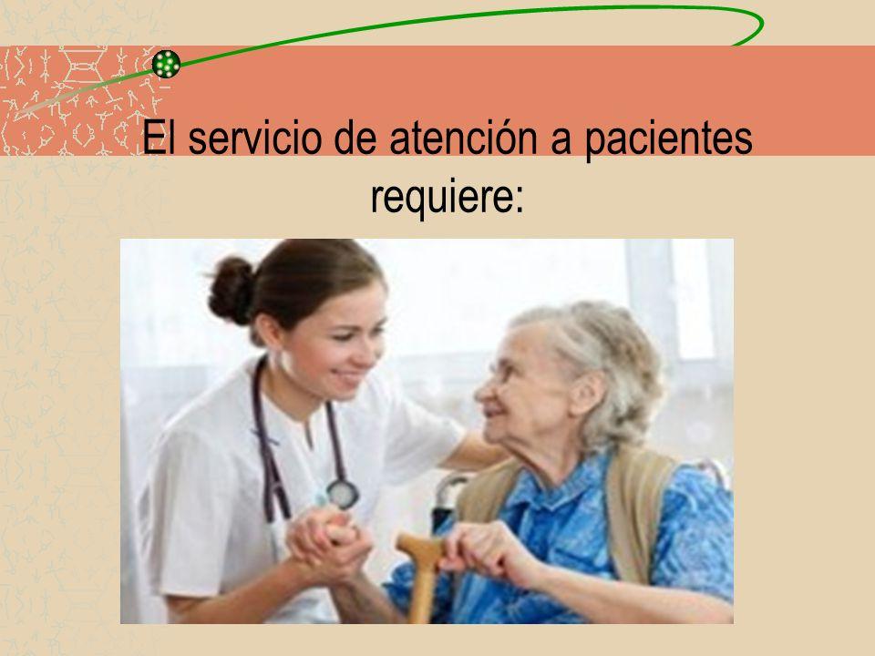 El servicio de atención a pacientes requiere: