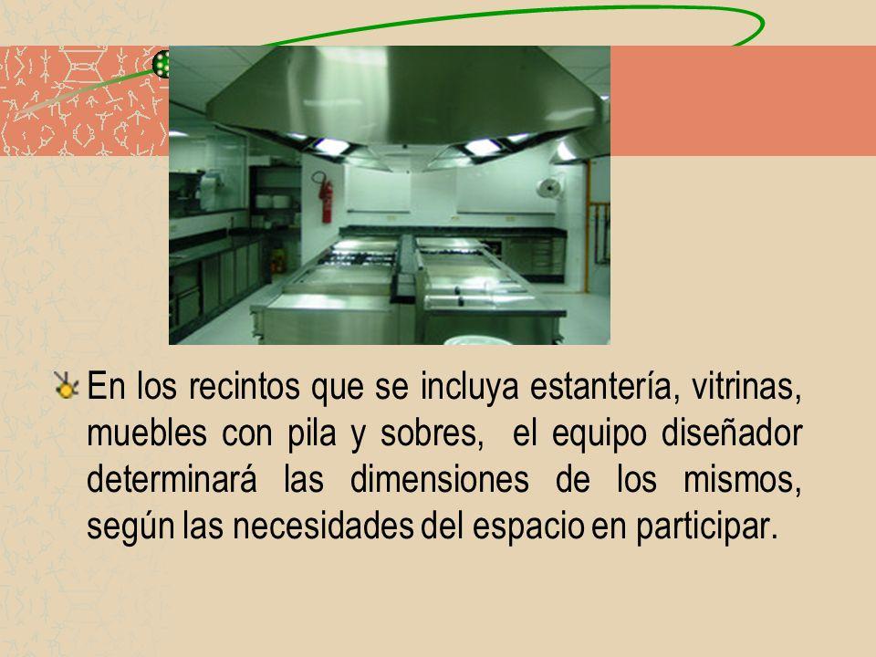 En los recintos que se incluya estantería, vitrinas, muebles con pila y sobres, el equipo diseñador determinará las dimensiones de los mismos, según l