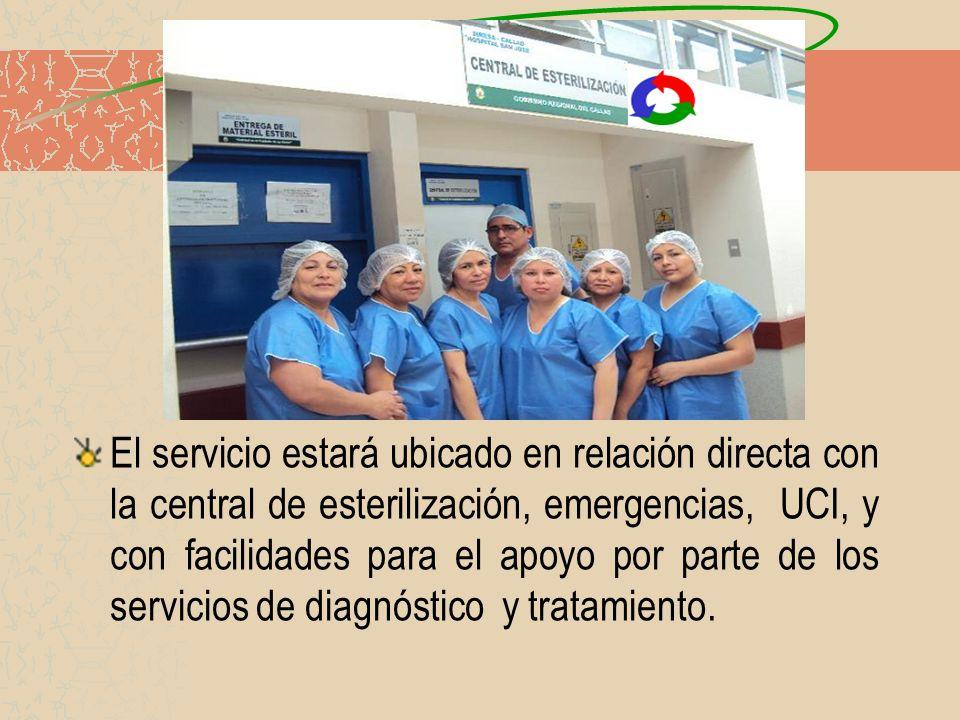 El servicio estará ubicado en relación directa con la central de esterilización, emergencias, UCI, y con facilidades para el apoyo por parte de los se