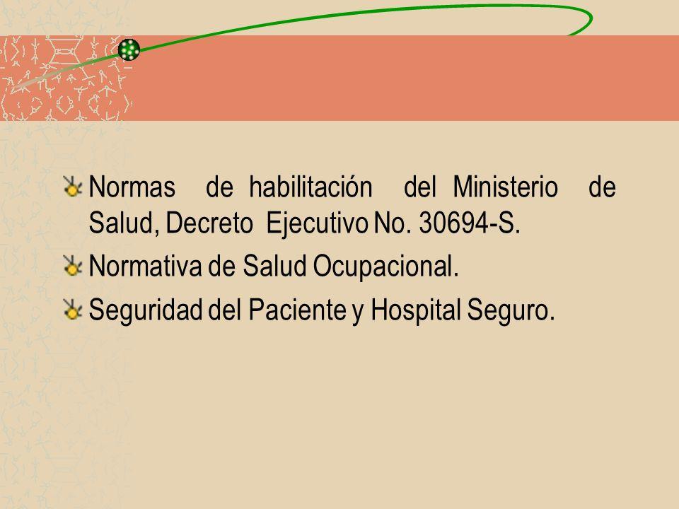 Normas de habilitación del Ministerio de Salud, Decreto Ejecutivo No. 30694-S. Normativa de Salud Ocupacional. Seguridad del Paciente y Hospital Segur