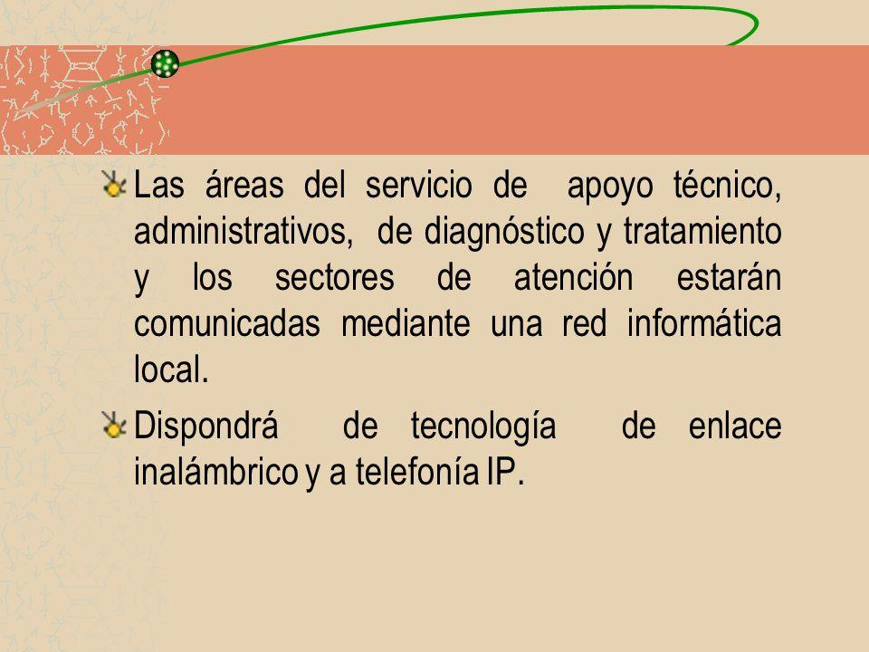 Las áreas del servicio de apoyo técnico, administrativos, de diagnóstico y tratamiento y los sectores de atención estarán comunicadas mediante una red