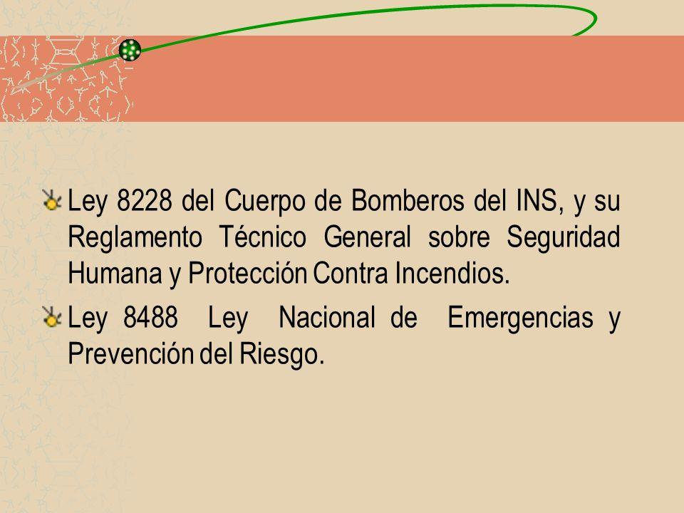 Ley 8228 del Cuerpo de Bomberos del INS, y su Reglamento Técnico General sobre Seguridad Humana y Protección Contra Incendios. Ley 8488 Ley Nacional d