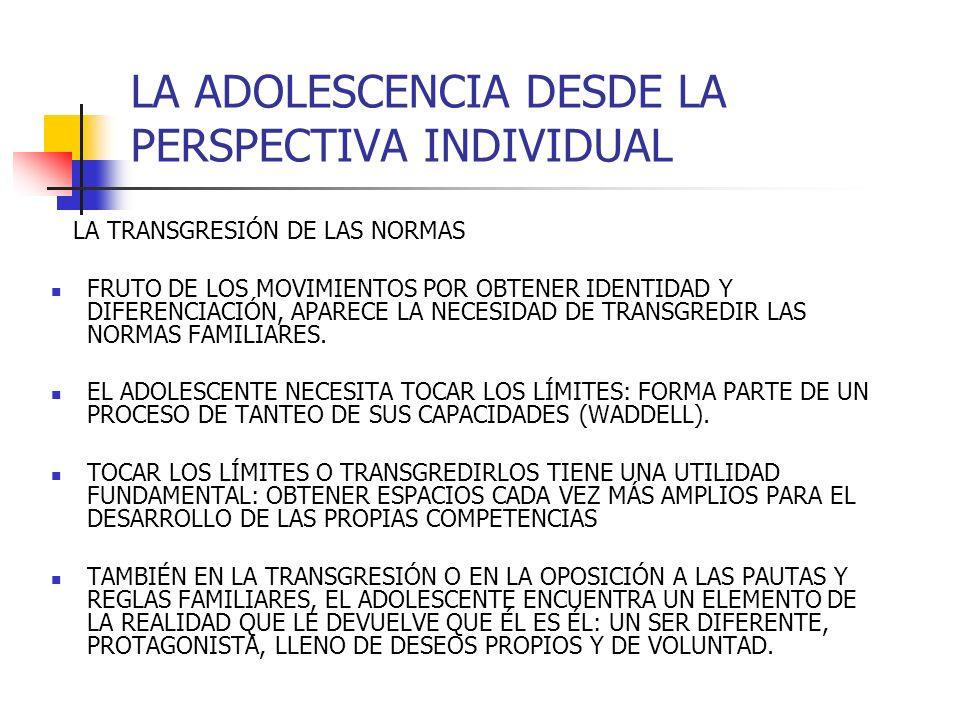 LA ADOLESCENCIA DESDE LA PERSPECTIVA INDIVIDUAL LA TRANSGRESIÓN DE LAS NORMAS FRUTO DE LOS MOVIMIENTOS POR OBTENER IDENTIDAD Y DIFERENCIACIÓN, APARECE