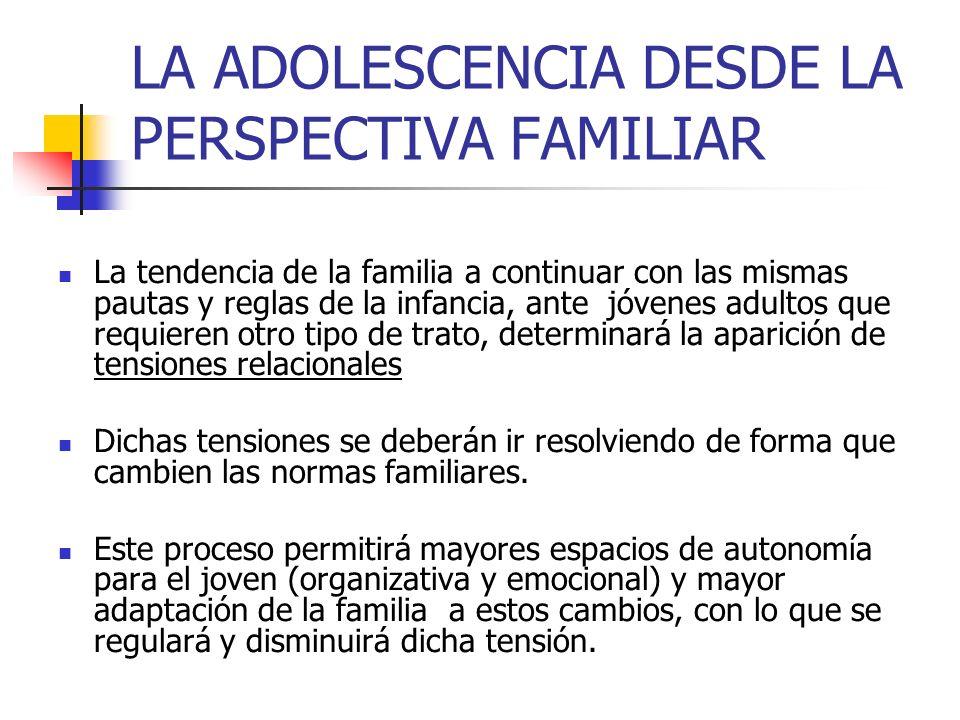 LA ADOLESCENCIA DESDE LA PERSPECTIVA FAMILIAR La tendencia de la familia a continuar con las mismas pautas y reglas de la infancia, ante jóvenes adult