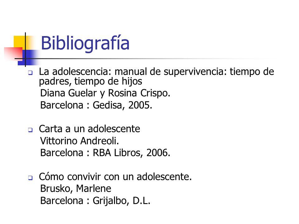 Bibliografía La adolescencia: manual de supervivencia: tiempo de padres, tiempo de hijos Diana Guelar y Rosina Crispo. Barcelona : Gedisa, 2005. Carta