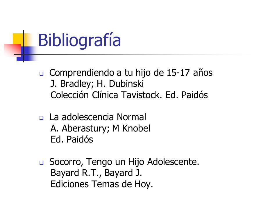 Bibliografía Comprendiendo a tu hijo de 15-17 años J. Bradley; H. Dubinski Colección Clínica Tavistock. Ed. Paidós La adolescencia Normal A. Aberastur