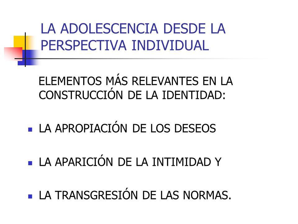 LA ADOLESCENCIA DESDE LA PERSPECTIVA INDIVIDUAL ELEMENTOS MÁS RELEVANTES EN LA CONSTRUCCIÓN DE LA IDENTIDAD: LA APROPIACIÓN DE LOS DESEOS LA APARICIÓN