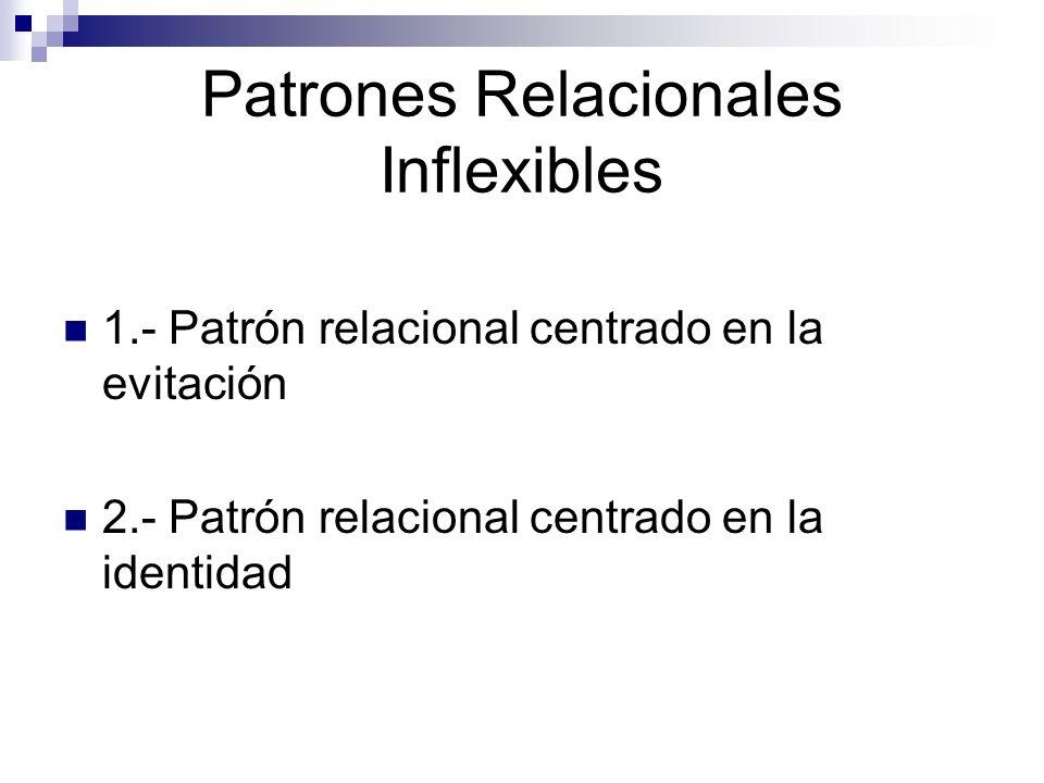 Patrones Relacionales Inflexibles 1.- Patrón relacional centrado en la evitación 2.- Patrón relacional centrado en la identidad