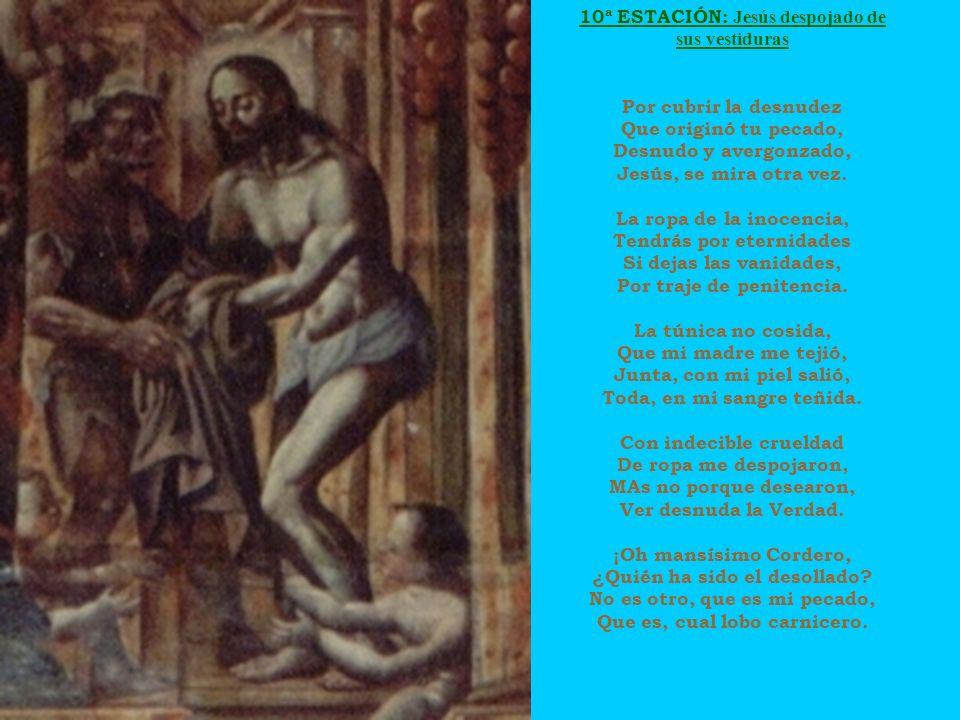 10ª ESTACIÓN: Jesús despojado de sus vestiduras Por cubrir la desnudez Que originó tu pecado, Desnudo y avergonzado, Jesús, se mira otra vez. La ropa