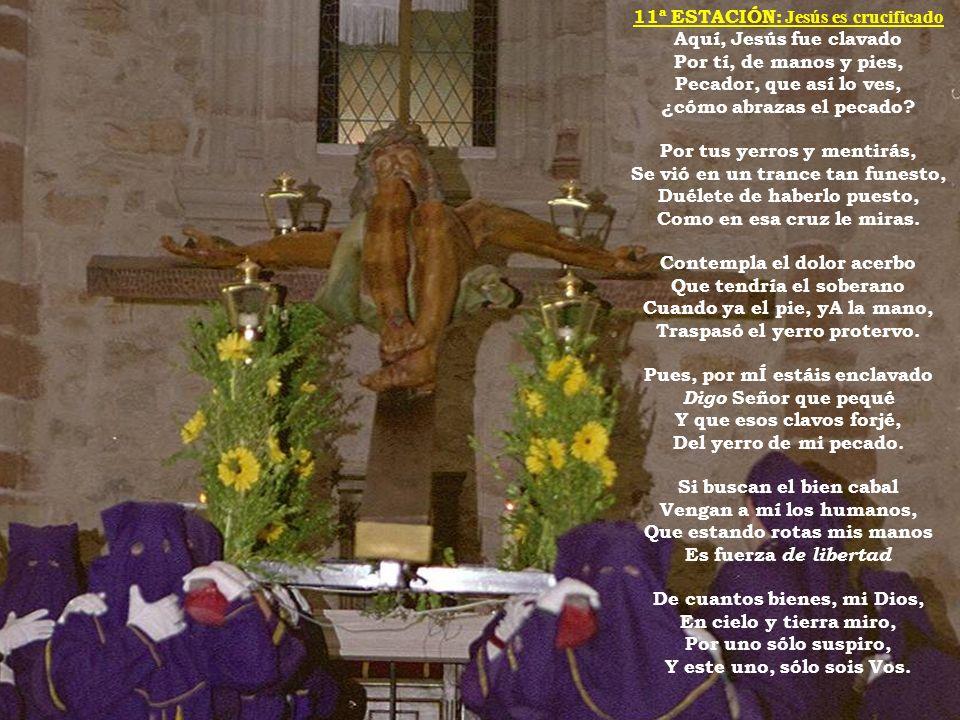 11ª ESTACIÓN: Jesús es crucificado Aquí, Jesús fue clavado Por tí, de manos y pies, Pecador, que así lo ves, ¿cómo abrazas el pecado? Por tus yerros y