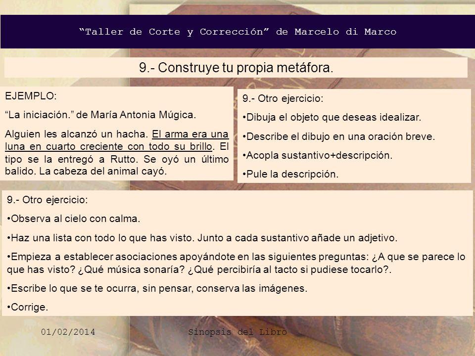 Taller de Corte y Corrección de Marcelo di Marco 01/02/2014Sinopsis del Libro 9.- Construye tu propia metáfora. EJEMPLO: La iniciación. de María Anton