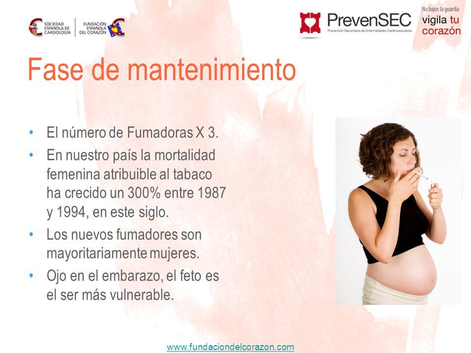 www.fundaciondelcorazon.com El número de Fumadoras X 3. En nuestro país la mortalidad femenina atribuible al tabaco ha crecido un 300% entre 1987 y 19