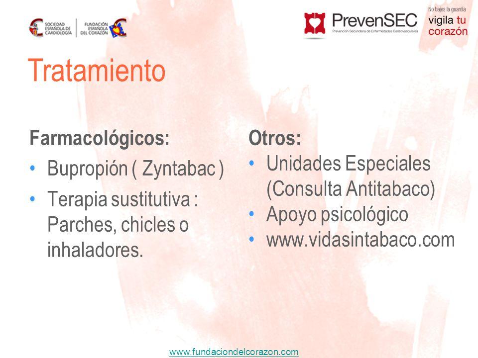 www.fundaciondelcorazon.com Farmacológicos: Bupropión ( Zyntabac ) Terapia sustitutiva : Parches, chicles o inhaladores. Otros: Unidades Especiales (C