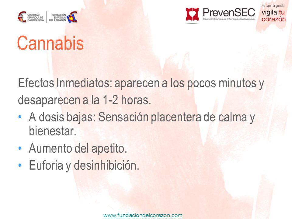 www.fundaciondelcorazon.com Efectos Inmediatos: aparecen a los pocos minutos y desaparecen a la 1-2 horas. A dosis bajas: Sensación placentera de calm