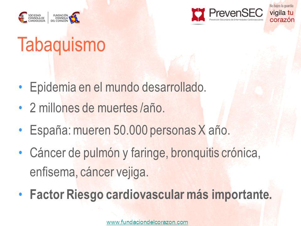 www.fundaciondelcorazon.com Epidemia en el mundo desarrollado. 2 millones de muertes /año. España: mueren 50.000 personas X año. Cáncer de pulmón y fa