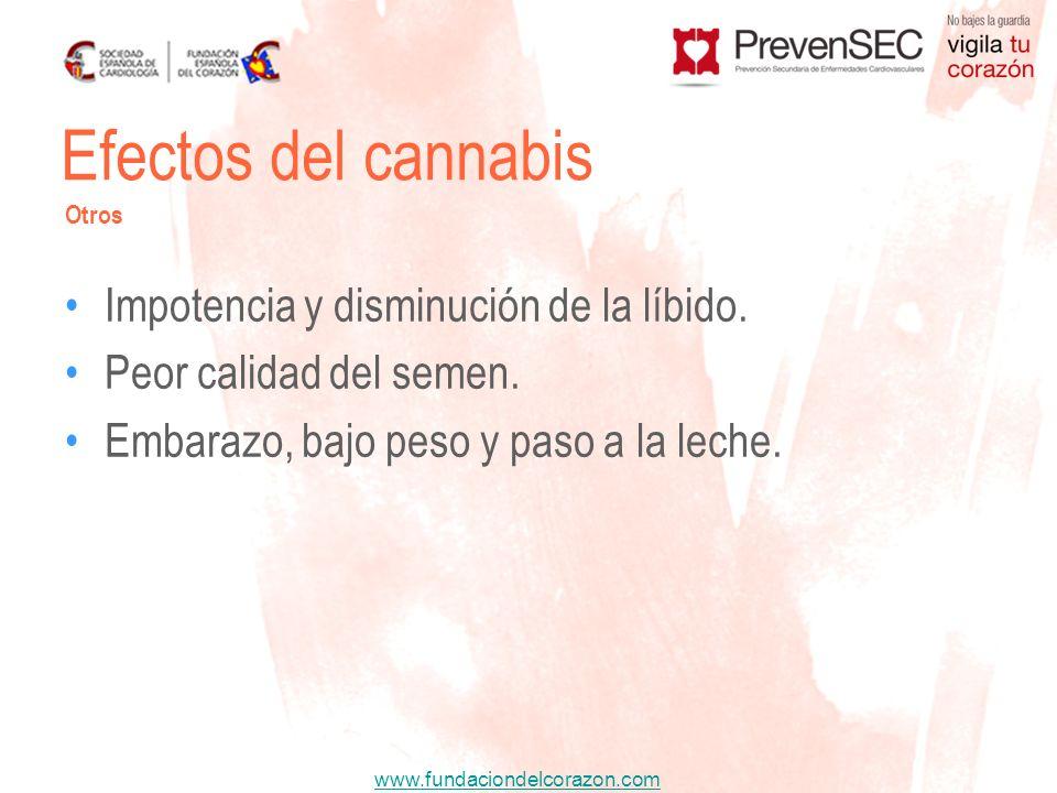 www.fundaciondelcorazon.com Impotencia y disminución de la líbido. Peor calidad del semen. Embarazo, bajo peso y paso a la leche. Efectos del cannabis