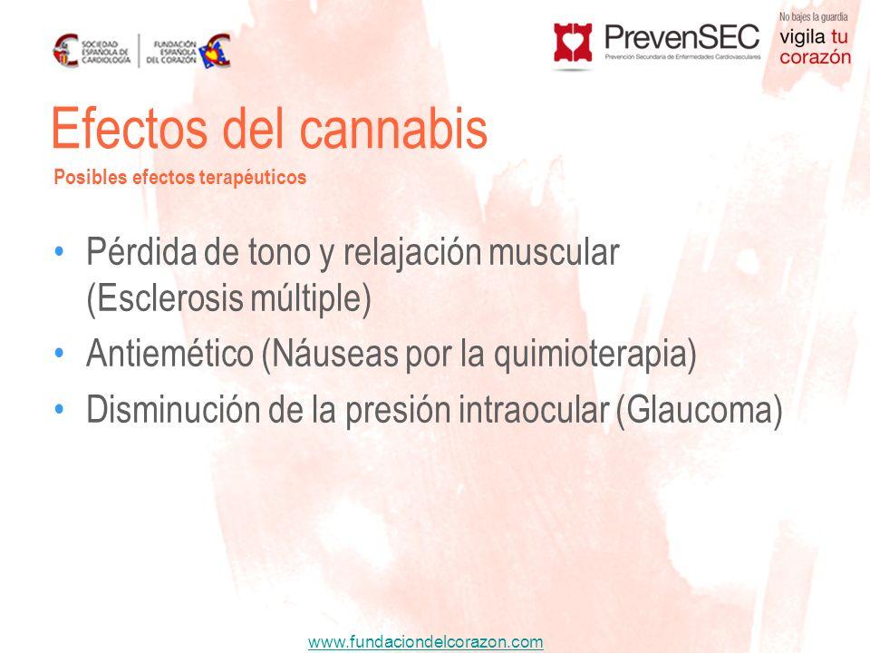 www.fundaciondelcorazon.com Pérdida de tono y relajación muscular (Esclerosis múltiple) Antiemético (Náuseas por la quimioterapia) Disminución de la p