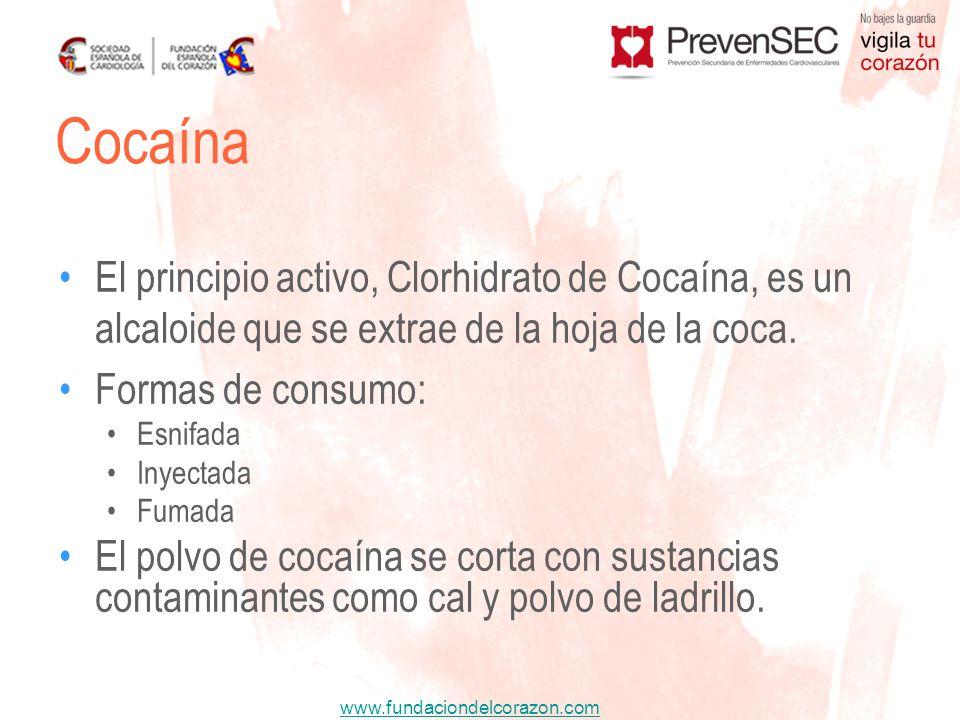 www.fundaciondelcorazon.com El principio activo, Clorhidrato de Cocaína, es un alcaloide que se extrae de la hoja de la coca. Formas de consumo: Esnif