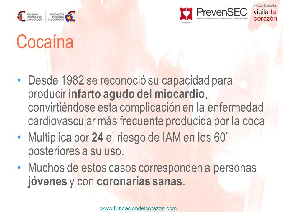www.fundaciondelcorazon.com Desde 1982 se reconoció su capacidad para producir infarto agudo del miocardio, convirtiéndose esta complicación en la enf