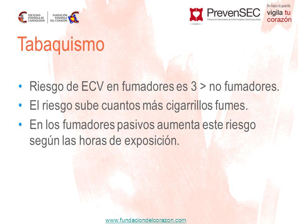 www.fundaciondelcorazon.com Riesgo de ECV en fumadores es 3 > no fumadores. El riesgo sube cuantos más cigarrillos fumes. En los fumadores pasivos aum