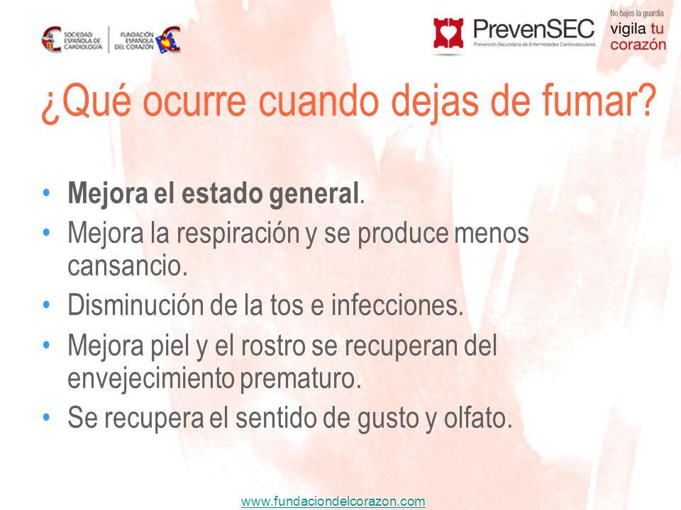www.fundaciondelcorazon.com Mejora el estado general. Mejora la respiración y se produce menos cansancio. Disminución de la tos e infecciones. Mejora
