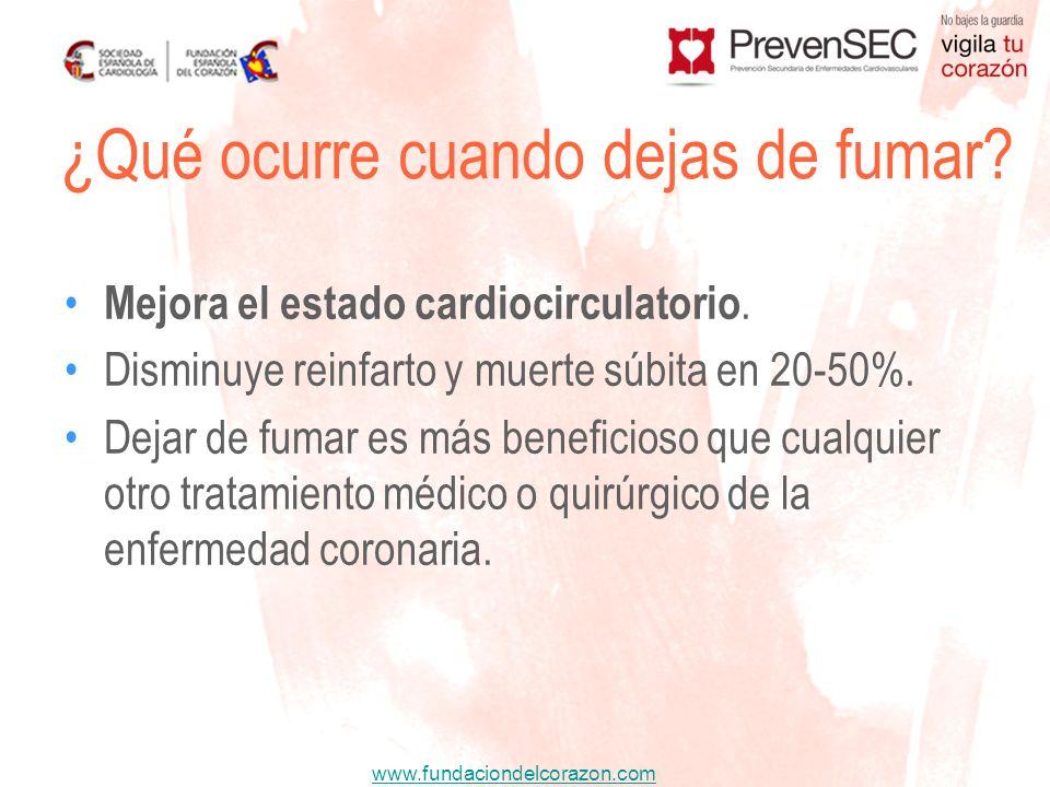 www.fundaciondelcorazon.com Mejora el estado cardiocirculatorio. Disminuye reinfarto y muerte súbita en 20-50%. Dejar de fumar es más beneficioso que