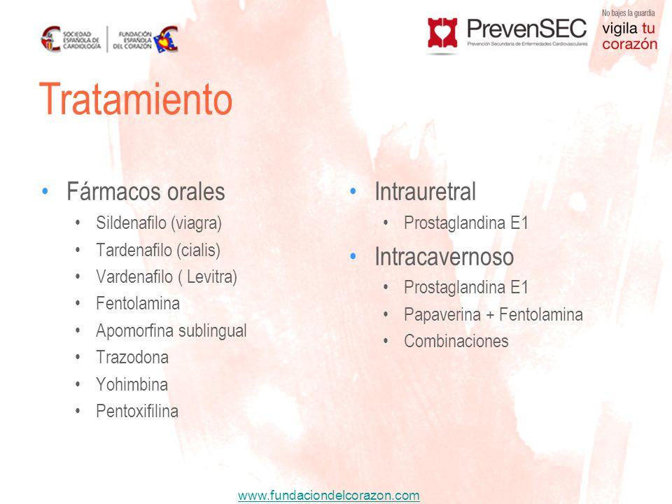 www.fundaciondelcorazon.com Tratamiento Fármacos orales Sildenafilo (viagra) Tardenafilo (cialis) Vardenafilo ( Levitra) Fentolamina Apomorfina sublin