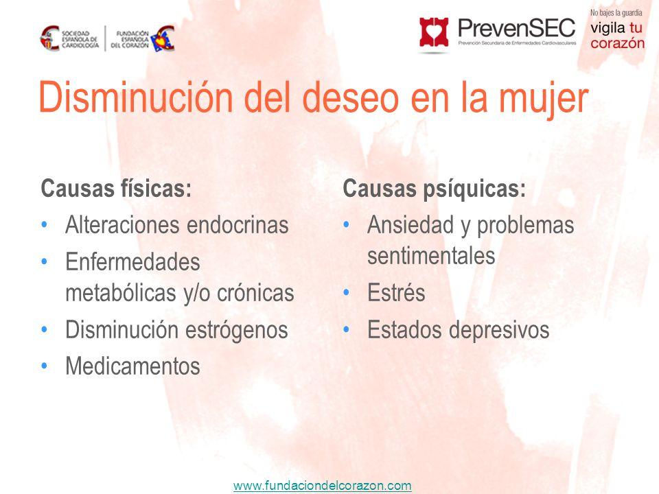 www.fundaciondelcorazon.com Causas físicas: Alteraciones endocrinas Enfermedades metabólicas y/o crónicas Disminución estrógenos Medicamentos Causas p