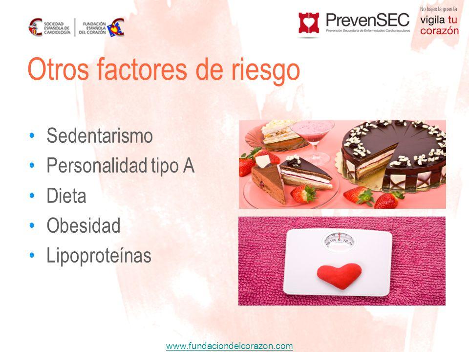 www.fundaciondelcorazon.com Sedentarismo Personalidad tipo A Dieta Obesidad Lipoproteínas Otros factores de riesgo
